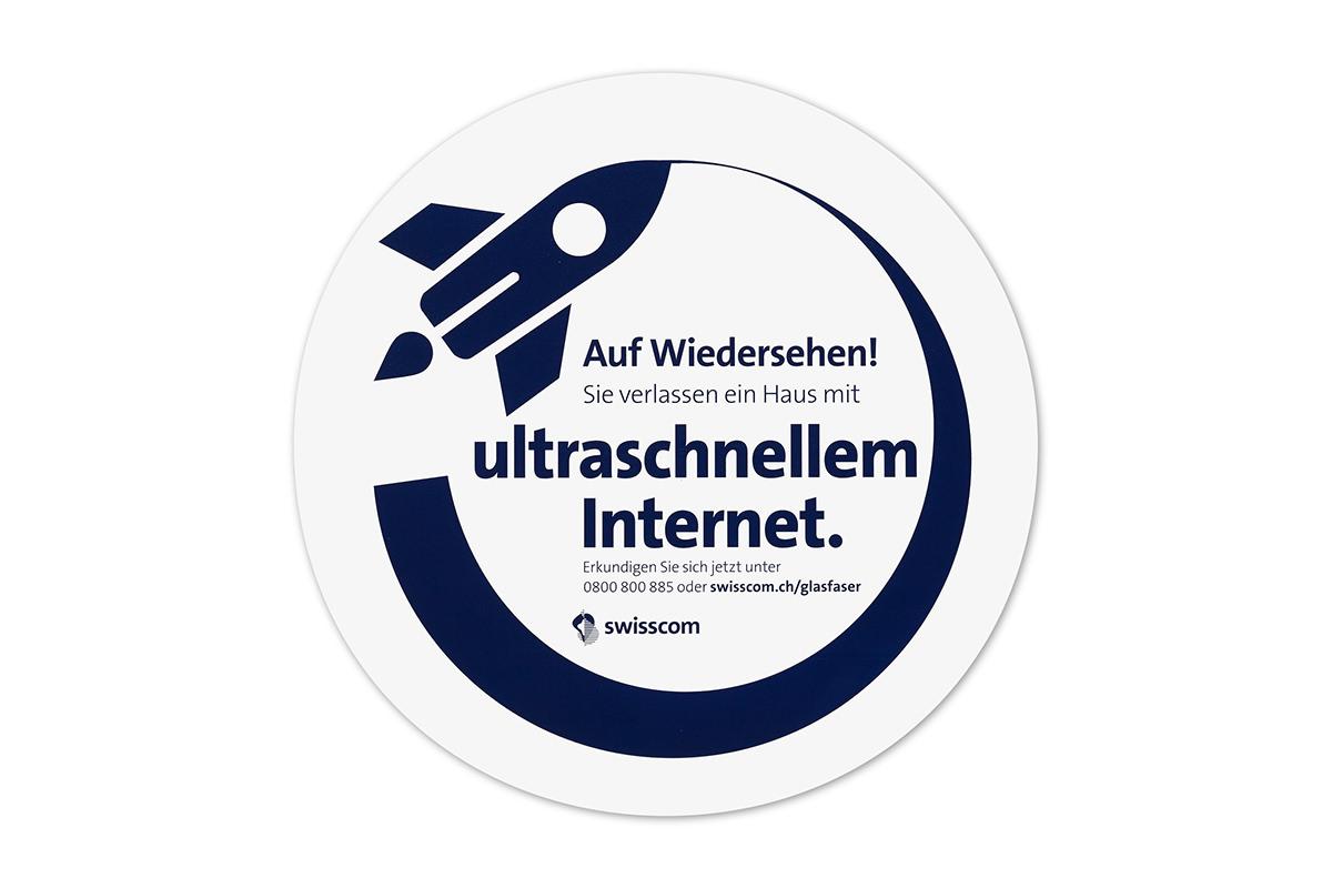 Werbesticker für Swisscom